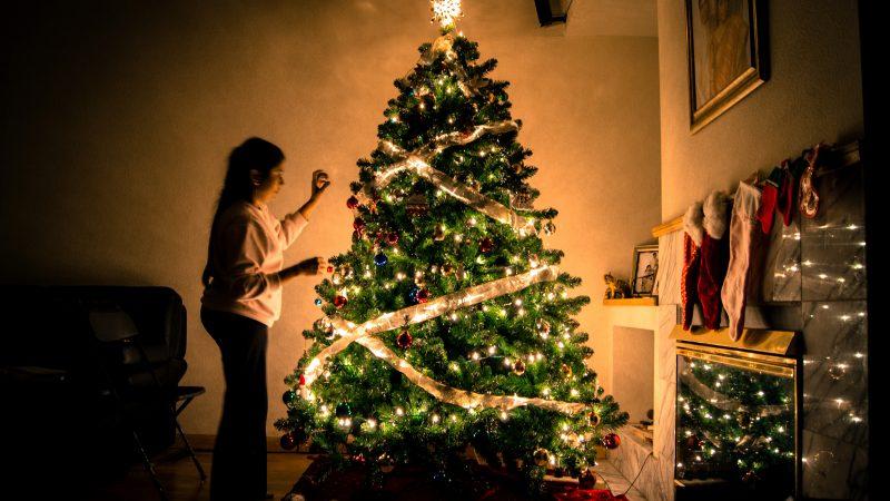świąteczna choinka w światełkach