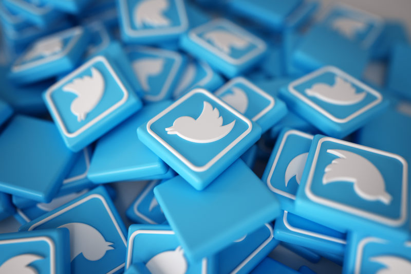 Pile of 3D Twitter Logos
