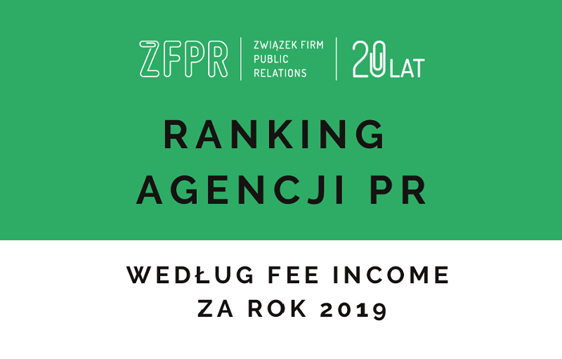 Ranking agencji PR wg fee income za rok 2019