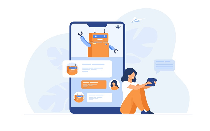 Tiny woman using mobile assistant with chatbot isolated flat vector illustration. Modern customer support online. Conversation and digital technology concept